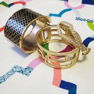 Jewelry - 3 Gold Tone cuff hinge bangles bracelets